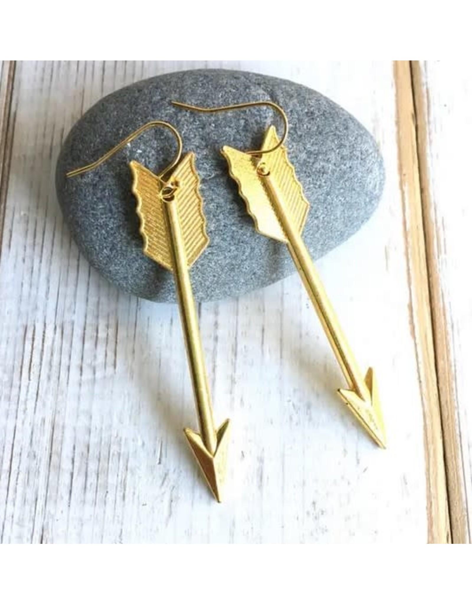Red Truck Gold Arrow Earrings