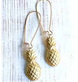 Red Truck Gold Pineapple Earrings