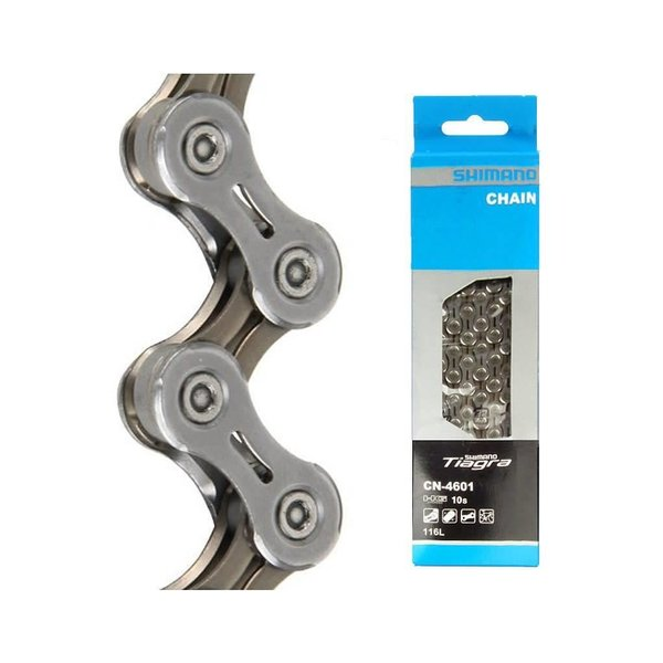 Shimano,Chaîne CN-4601, TIAGRA, FOR 10-SPEED, 116 LINKS, W/O END PIN, W/AMPOULE TYPE CONNECT PIN X1, IND.PACK