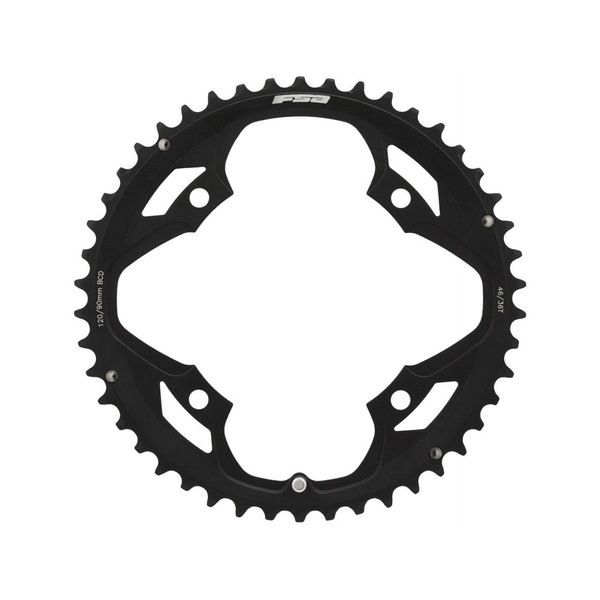 FSA Chainring, Pro Road Omega/Vero Pro, 46T, 4 x 120mm BCD, N-10/11, Black, For use with 36T x 90mm (WA067)