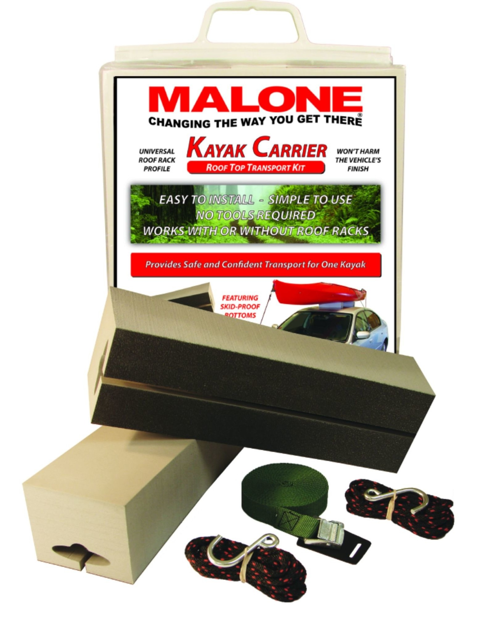 """Malone Auto Rack Malone Standard Kayak Carrier with Tie-Downs - Foam Block Style - 12"""" Long"""