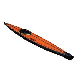 Nautiraid Nautiraid kayak KARAN 520 PVC Bois monoplace +Pack Evasion + Cale Pied Orange
