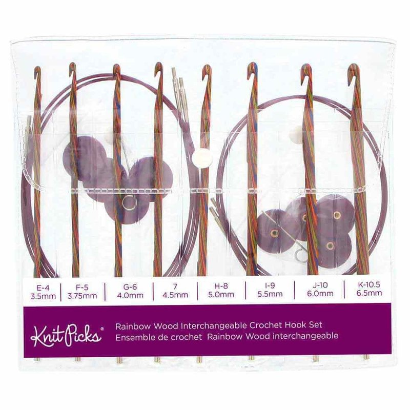 Knit Picks Knit Picks Rainbow Wood Interchangeable Circular Crochet Hook Set