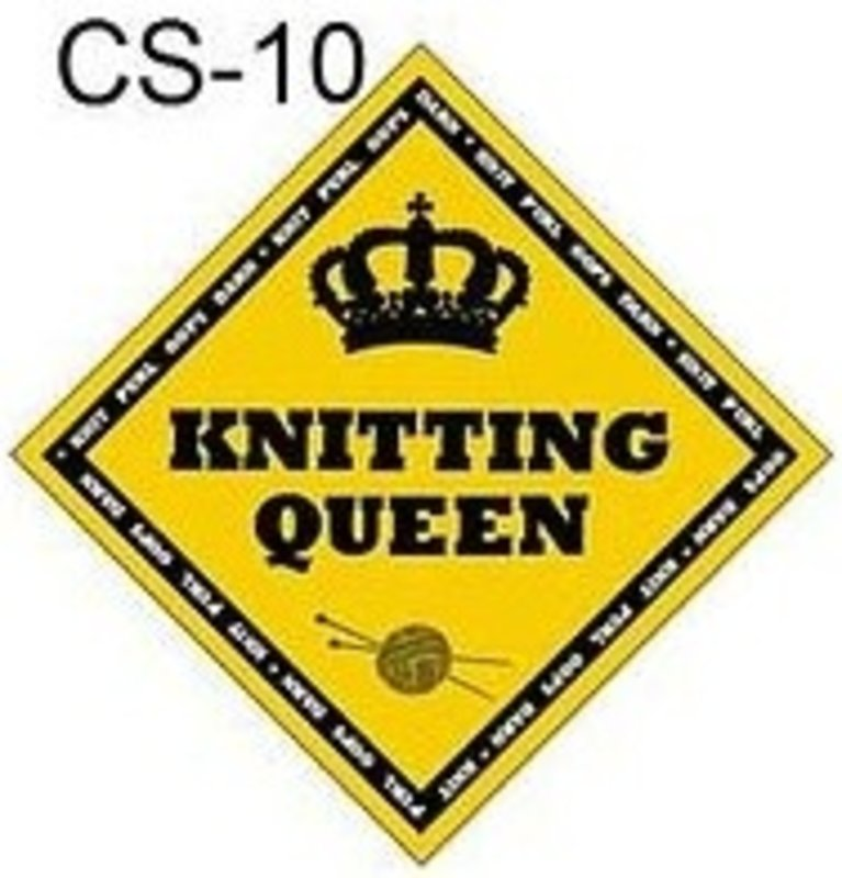 """X's & Oh's """"Knitting Queen"""" Diamond Sign"""