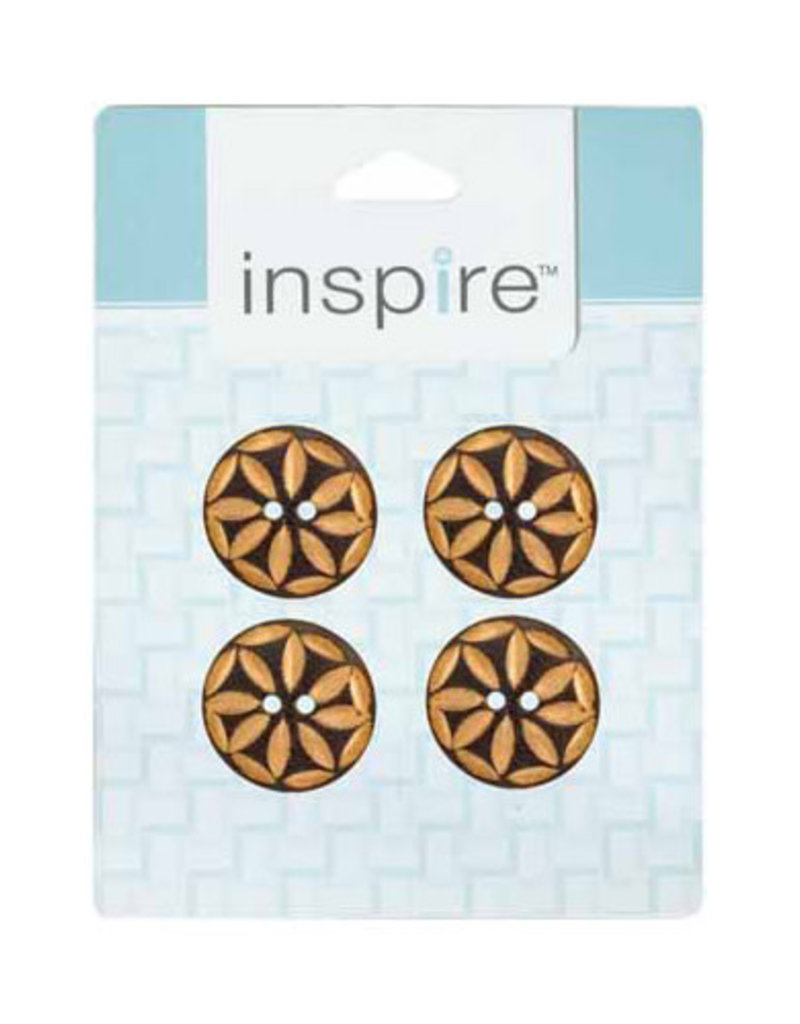 Inspire 25mm 2-Hole Btn, Brown