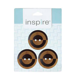 Inspire 28mm 2-Hole Btn, Brown