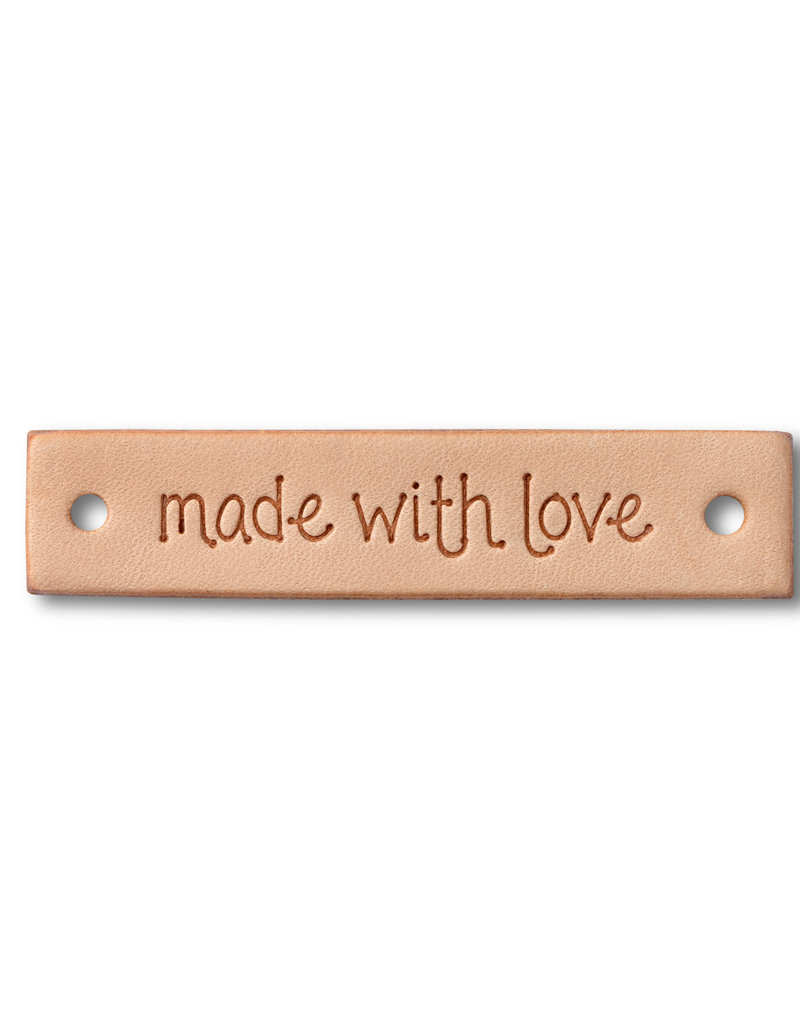 """Prym Prym """"Made With Love"""" Leather Label, Natural Rectangle"""