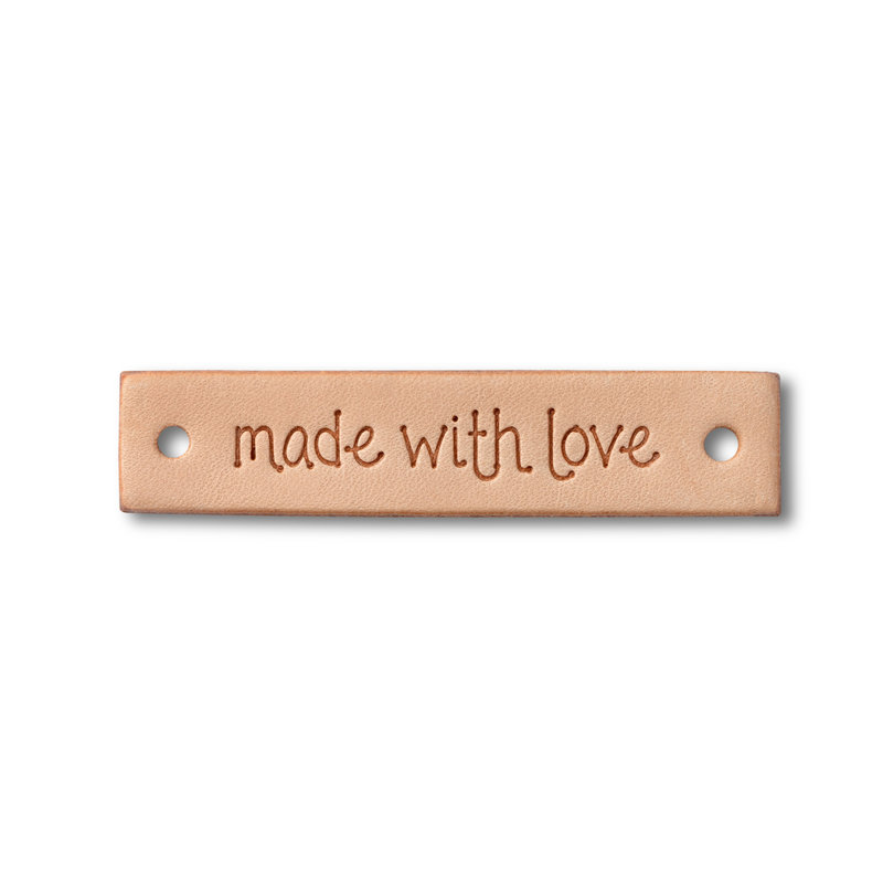 "Prym Prym ""Made With Love"" Leather Label, Natural Rectangle"