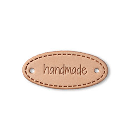 "Prym Prym ""Handmade"" Leather Label, Natural Oval"