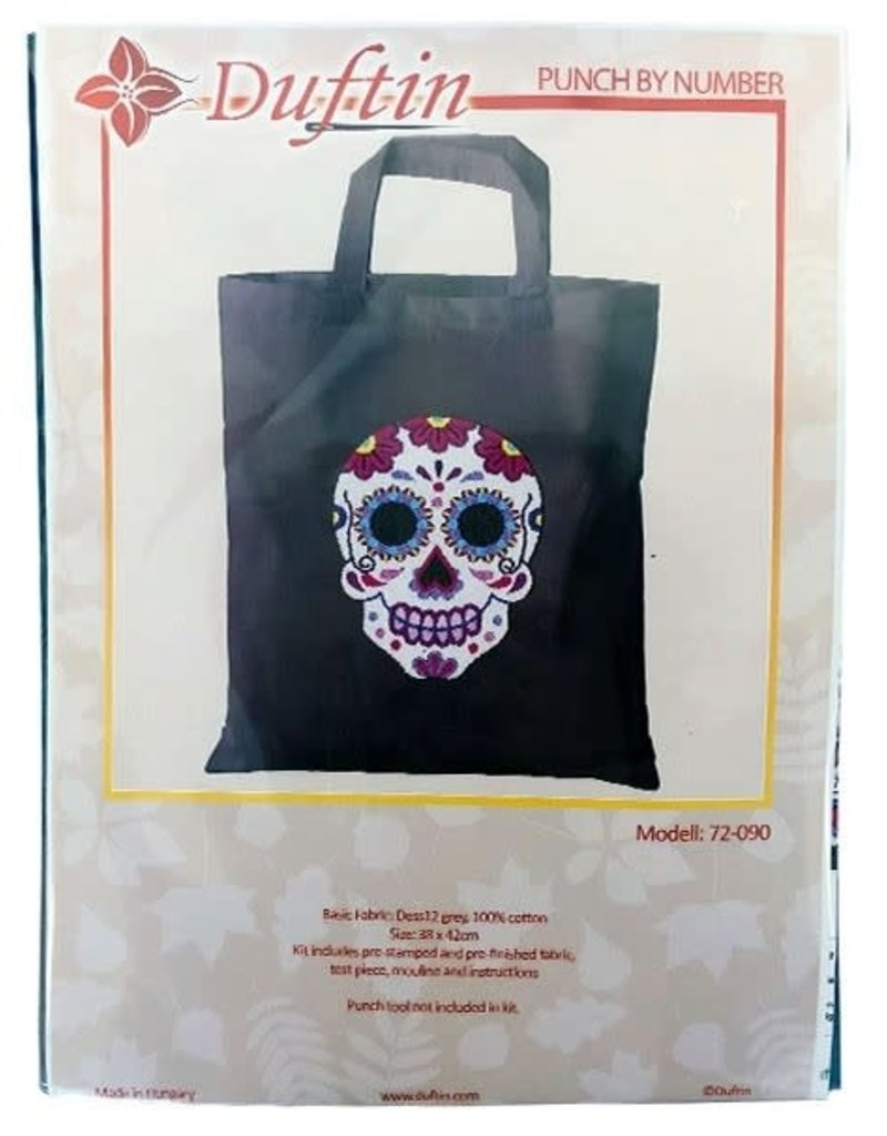 Duftin Duftin Punch By Number/Punch Needle Embroidery Sugar Skull Tote/Market Bag, Grey, 38cm x 42cm