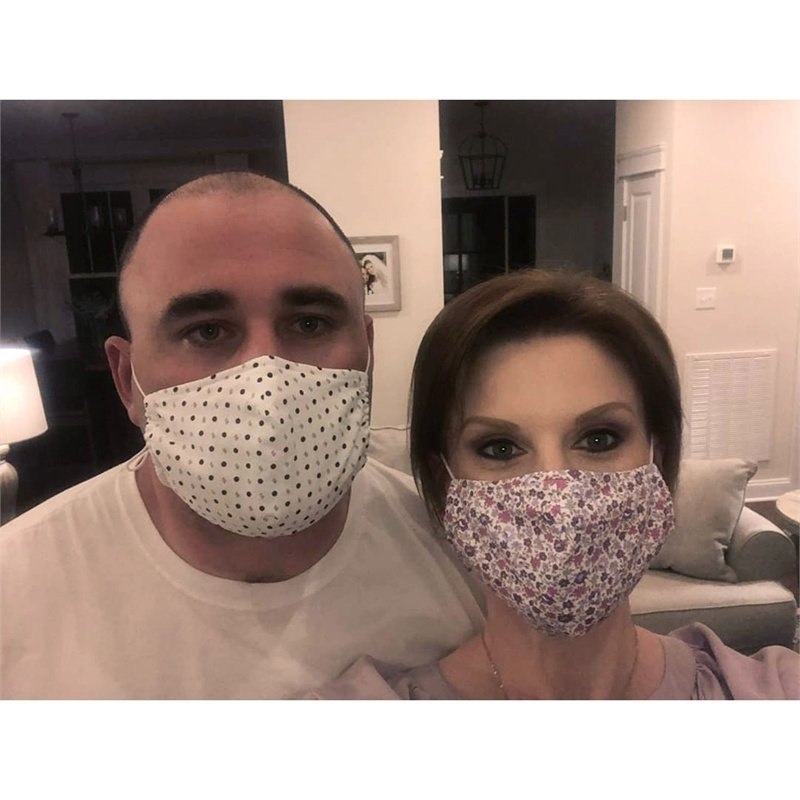 b. Boutique Anti-microbial Cotton Face Mask for Adults, Tea Infused  - Graphic Prints