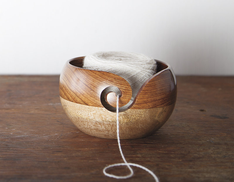 Knit Picks Knit Picks Two-tone Rosewood / Mango Wood Yarn Bowl