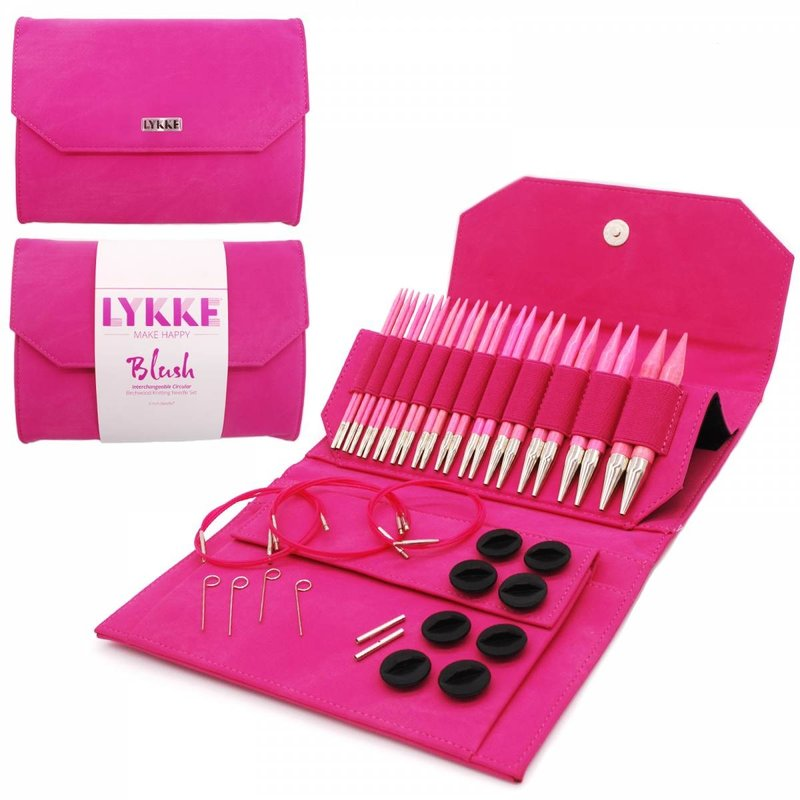 "LYKKE Crafts LYKKE Blush 5"" Interchangeable Circular Knitting Needle Set - Fuchsia Denim Effect"