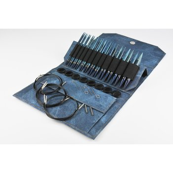 "LYKKE Crafts LYKKE Driftwood 5"" Interchangeable Circular Knitting Needle Set Indigo"