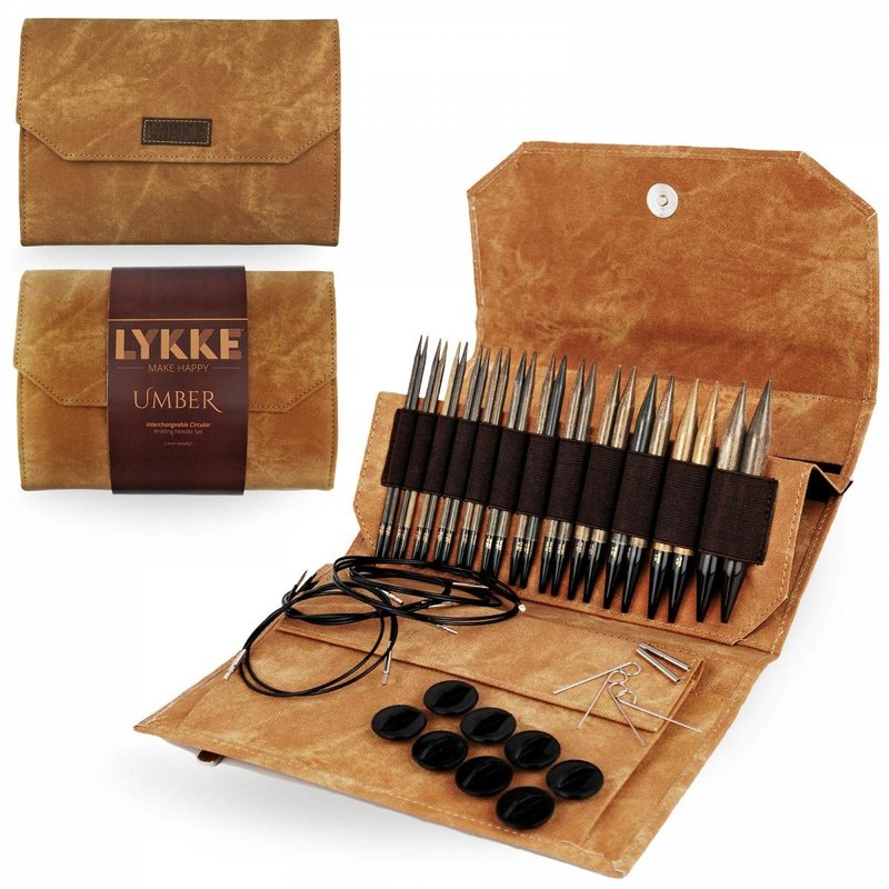 "LYKKE Crafts LYKKE Umber 5"" Interchangeable Circular Knitting Needle Set - Brown Denim Effect"