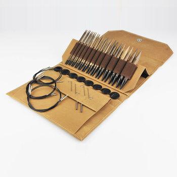 """LYKKE Crafts LYKKE Umber 5"""" Interchangeable Circular Knitting Needle Set - Brown Denim Effect"""