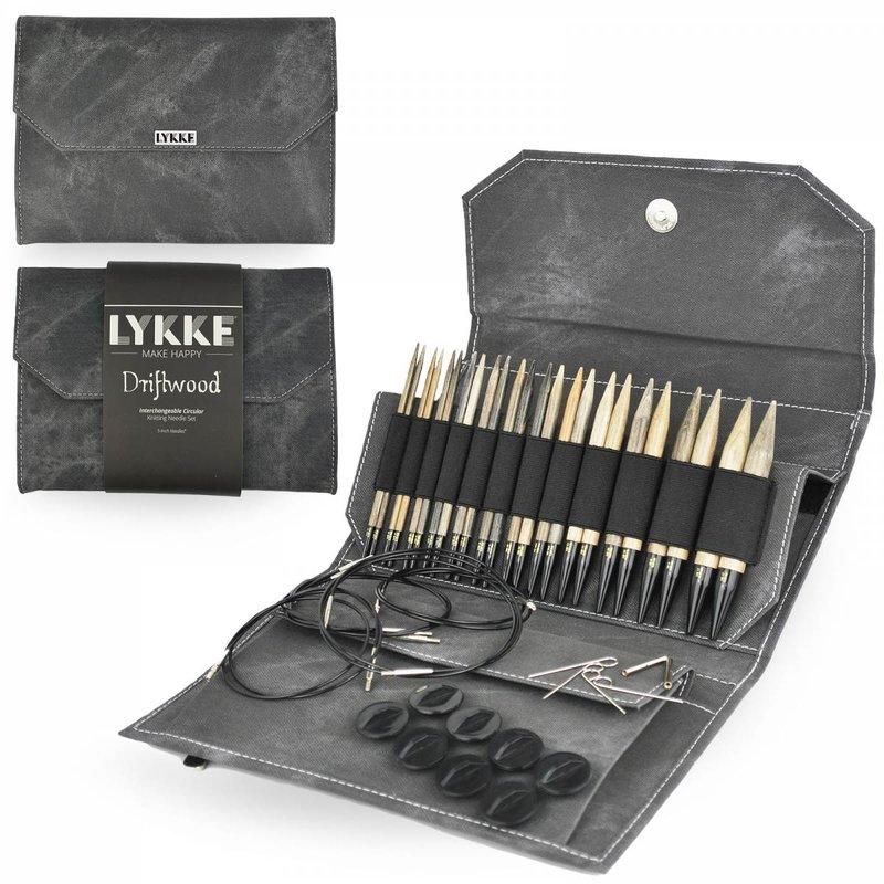 "LYKKE Crafts LYKKE Driftwood 5"" Interchangeable Circular Knitting Needle Set Driftwood - Grey Denim Effect"