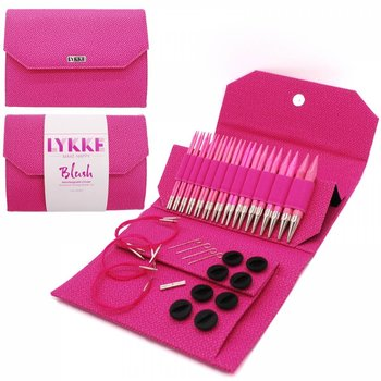 "LYKKE Crafts LYKKE Blush 5"" Interchangeable Circular Knitting Needle Set - Magenta Basketweave Effect"