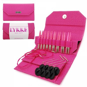 "LYKKE Crafts LYKKE Blush 3.5"" Interchangeable Circular Knitting Needle Set - Magenta Basketweave Effect"