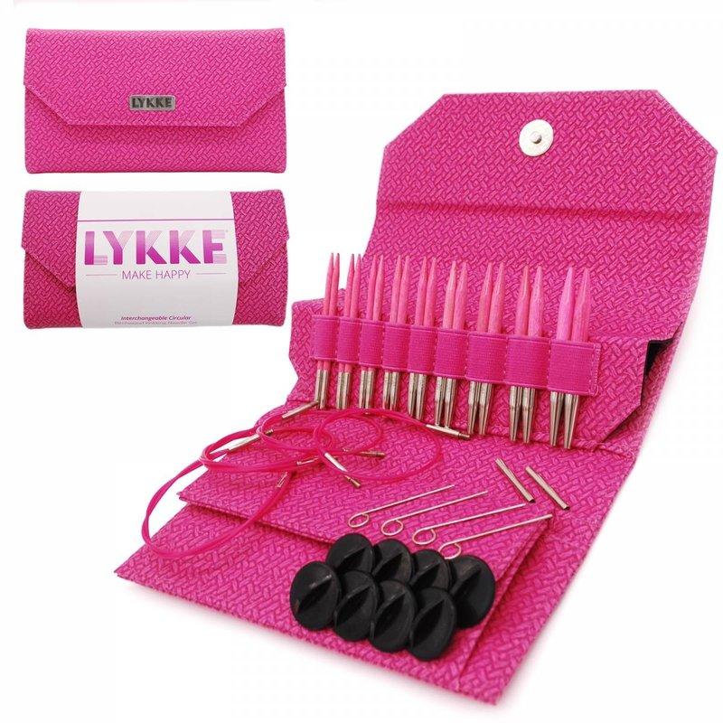 """LYKKE Crafts LYKKE Blush 3.5"""" Interchangeable Circular Knitting Needle Set - Magenta Basketweave Effect"""
