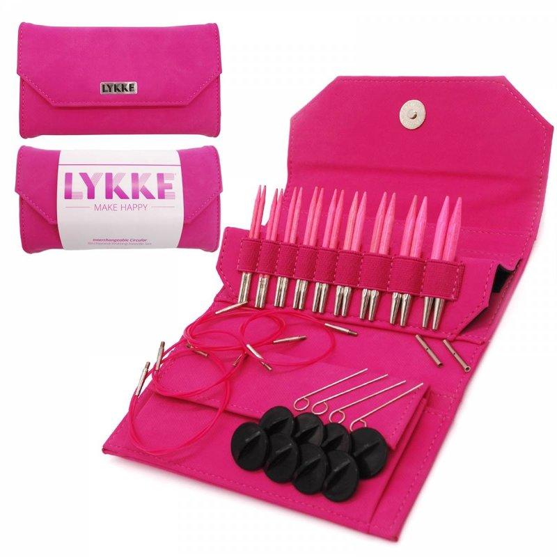 "LYKKE Crafts LYKKE Blush 3.5"" Interchangeable Circular Knitting Needle Set - Fuchsia Denim Effect"