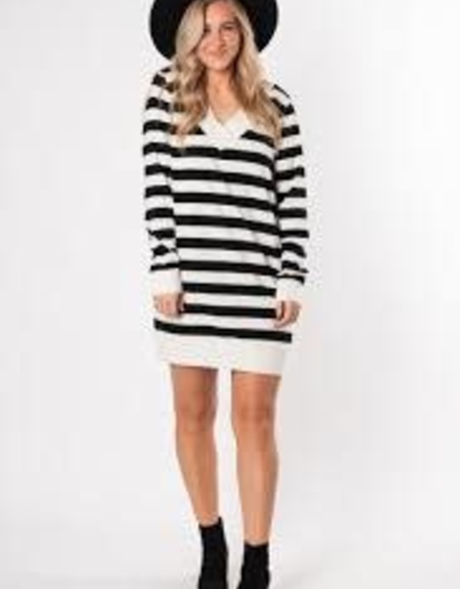 Z-SUPPLY L/S STRIPE DRESS (XS) BLACK/CHAMPAGNE