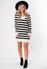 Z-SUPPLY L/S STRIPE DRESS (S) BLACK/CHAMPAGNE