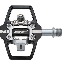 "HT Components HT T1 Enduro Race Pedals - Dual Sided Clipless with Platform, Aluminum, 9/16"", Black"