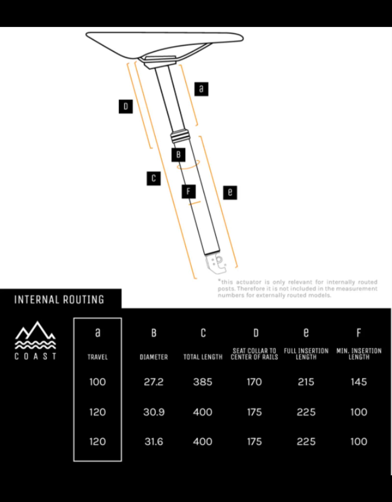 PNW Components PNW Coast Suspension Dropper Seatpost 30.9, 120mm Travel internal