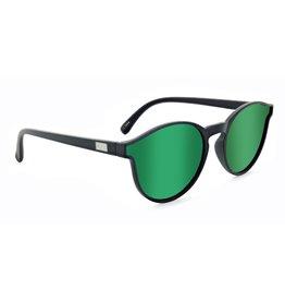 Optic Nerve Optic Nerve Sunglasses: Proviso Matte Black w/ Polarized Smoke w/ Green Mirror Lens