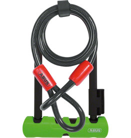 "Abus Abus Ultra 410 U-Lock - 3.9 x 7"", Keyed, Black/Green, Includes Cobra cable and bracket"