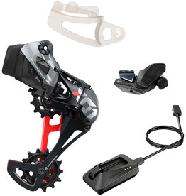 SRAM SRAM X01 Eagle AXS Upgrade Kit - Rear Derailleur for 52t Max, Battery, Eagle AXS Rocker Paddle Controller with Clamp, Charger/Cord, Red