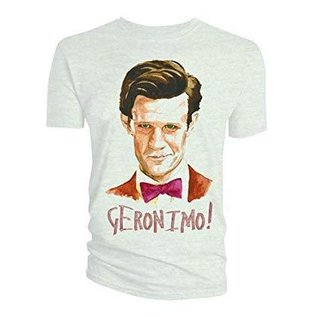 Doctor Who: Watercolor 11th Doctor Geranimo White T-Shirt Woman's Large
