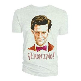 Doctor Who: Watercolor 11th Doctor Geronimo White T-Shirt Men's Large