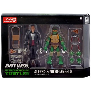 DC Collectibles Batman vs Teenage Mutant Ninja Turtles: Alfred & Michelangelo Gamestop Exclusive Action Figure 2-Pack