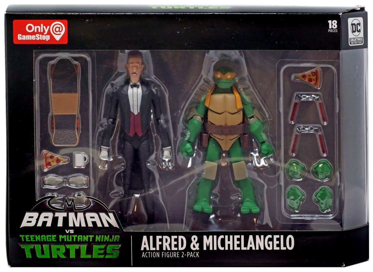 Batman Vs Teenage Mutant Ninja Turtles Alfred Michelangelo Gamestop Exclusive Action Figure 2 Pack Throne Of Toys