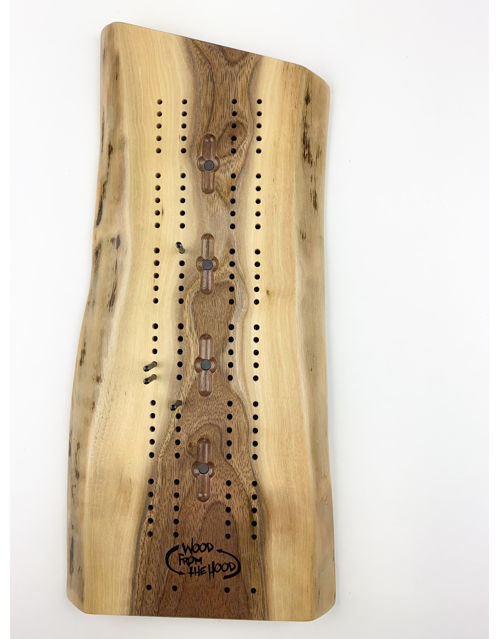 Wood From the Hood Cribbage Board
