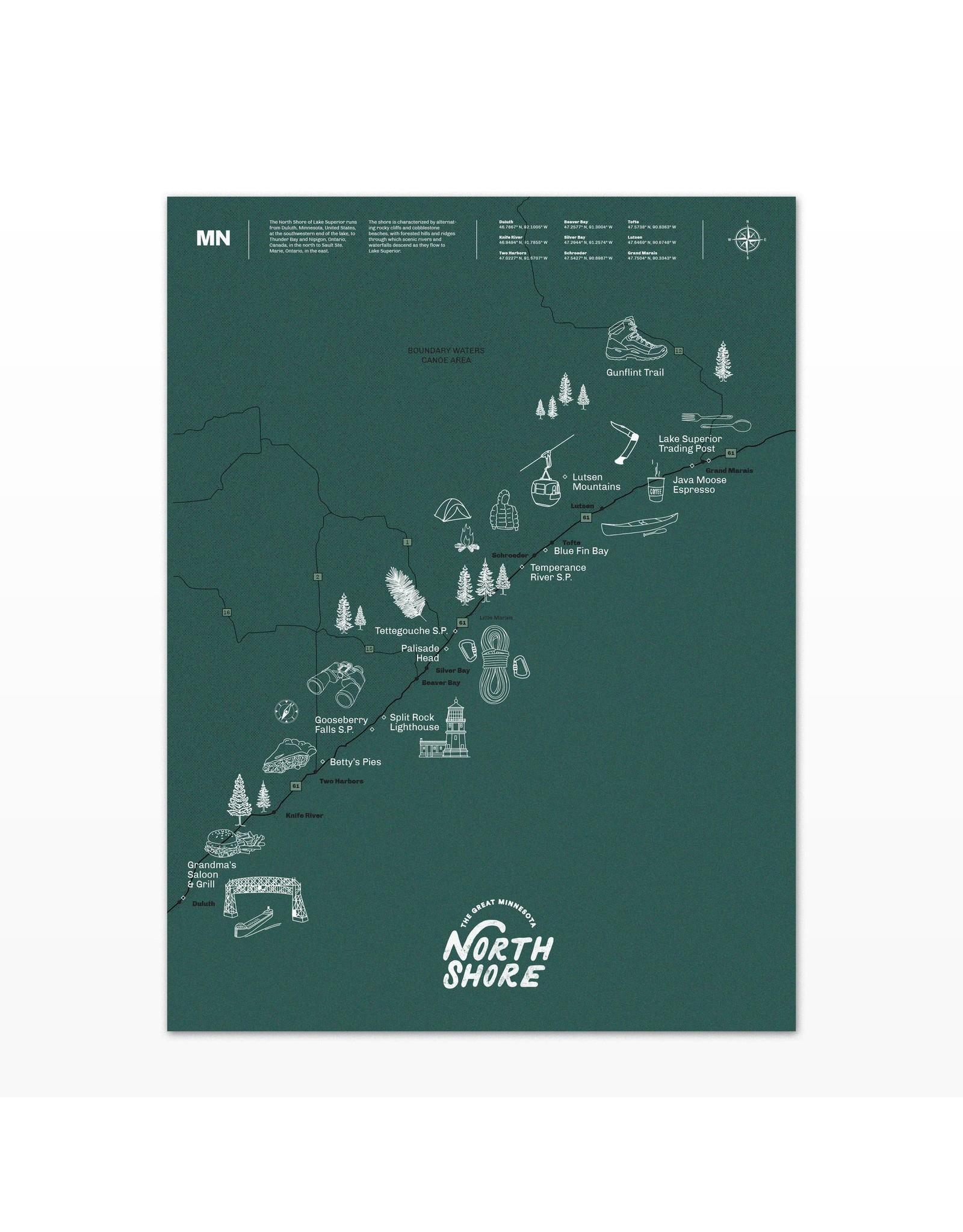 Northern Glasses The Great North Shore Map 18x24 OL