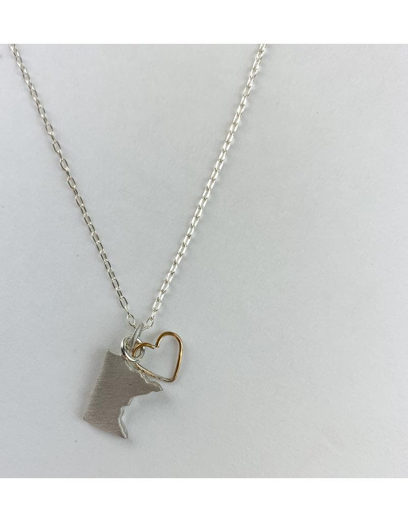 penny larsen Mn Silver/ Open Gold Heart