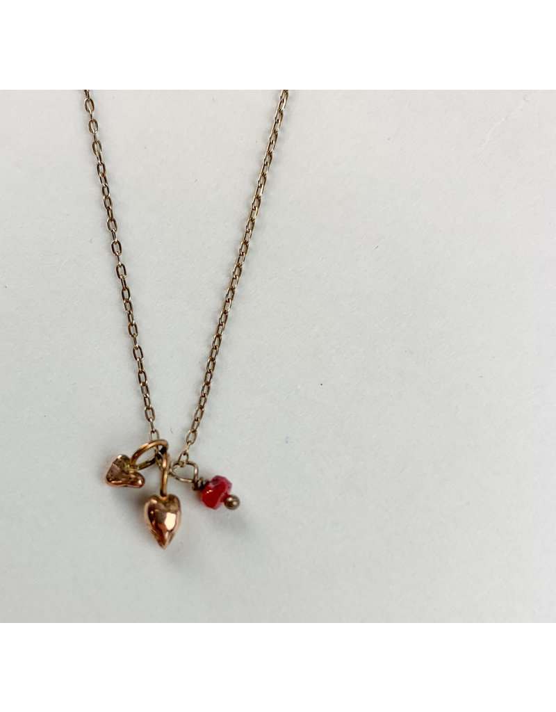 penny larsen Rose gold Hearts w/ruby necklace