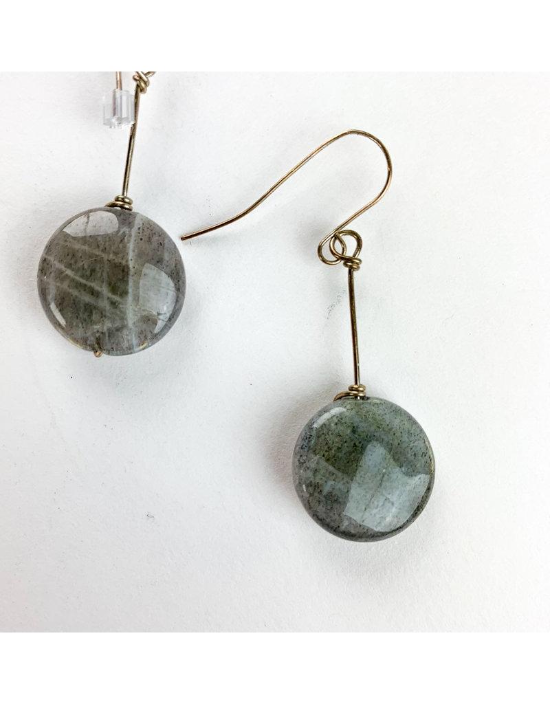 Nicole Collodoro Labradorite Circle Earrings