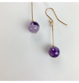Nicole Collodoro Amethyst Teardrop Earrings Gold