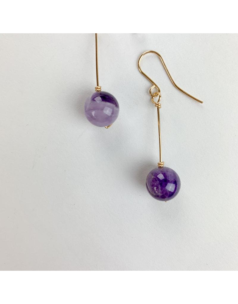 Nicole Collodoro Amethyst Teardrop Earrings Gold