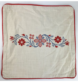 Creative Co-Op Square Cotton Pillow with Embroidery