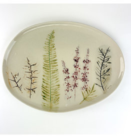 Creative Co-Op Oval Stoneware Debossed Floral Platter,