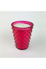 K. Hall Cranberry Hobnail Candle