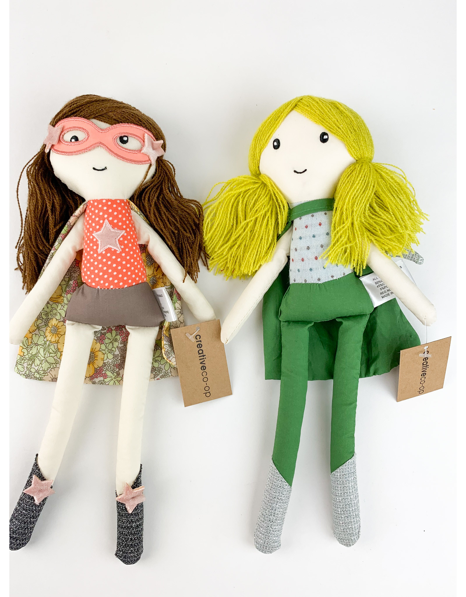 Creative Co-Op Cotton Super Hero Dolls