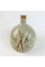 Creative Co-Op Stoneware Debossed Floral Bottle w/ Cork Stopper,
