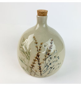 Creative Co-Op Stoneware Debossed Floral Bottle w/ Cork Stopper,