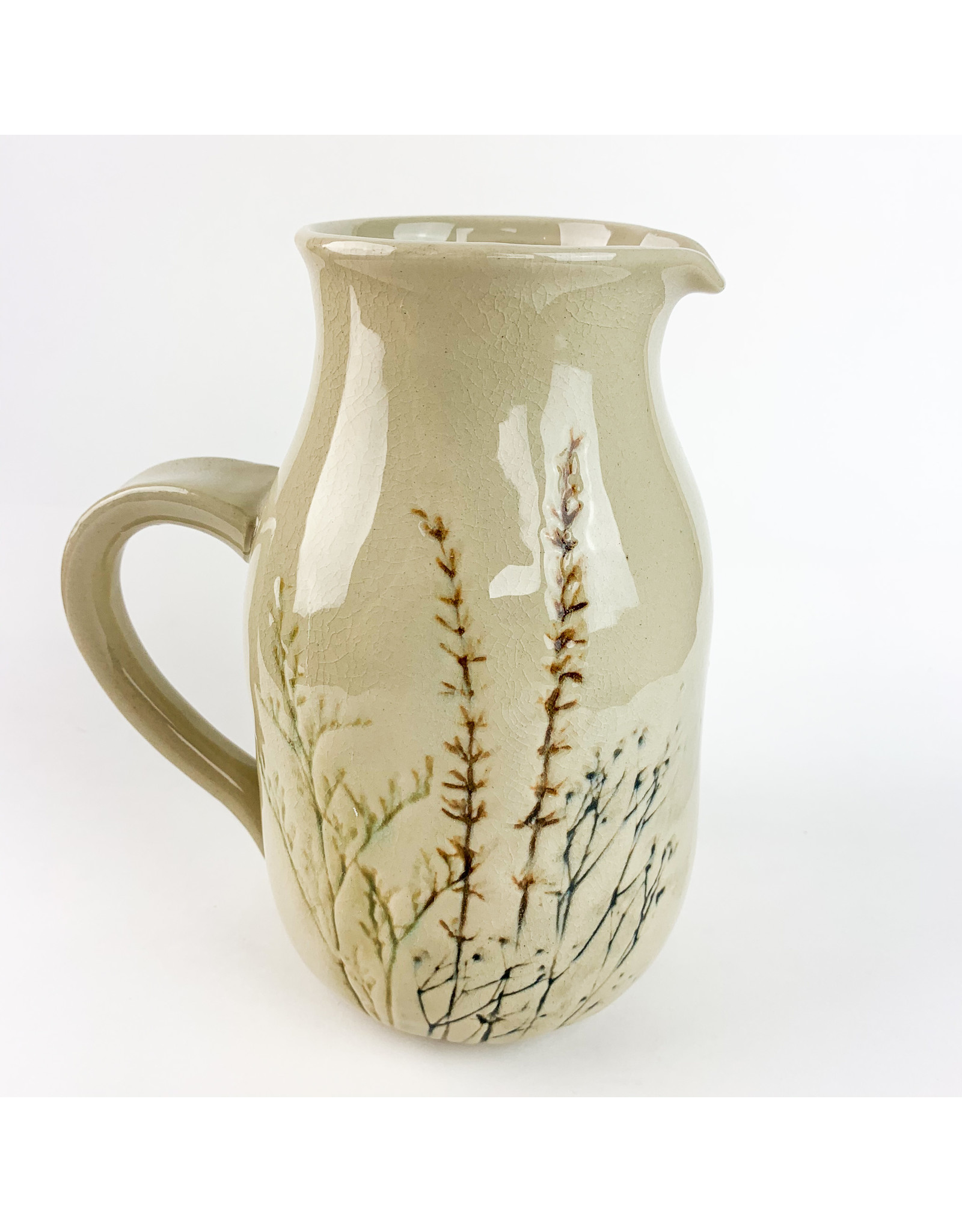 Creative Co-Op Stoneware Debossed Floral Pitcher,